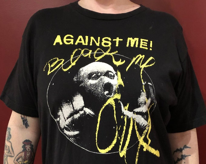 Against Me  Punk Rock (L) Fat Wreck Chords Punks Band Shirt Punks not dead band tee Laura Jane Grace Social Distortion Dead Kennedys Rancid