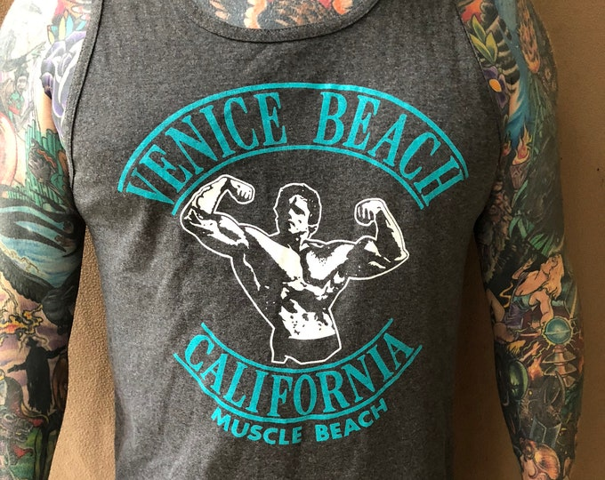 Arnold Schwarzenegger Muscle Beach TankTop (Large) Venice Beach fitness bodybuilding bodybuilder workout muscles gym gymrat barbells weights