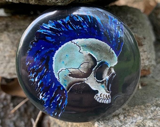 Blue Hair Skull Punks Pin Art Badge skate Punk Mohawk by Art By Kev G CBGB mohawk punks not dead skulls skulls Misfits Artwork Plasmatics