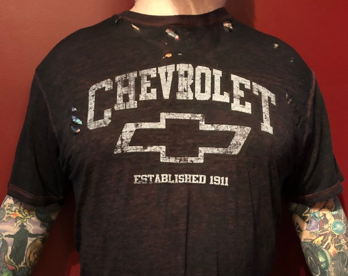 Distressed Chevrolet Chevy tshirt (L) Automotive Racing Impala Silverado Truck Trucks nascar SUVs Van Pickup Truck Car Cars Automobile
