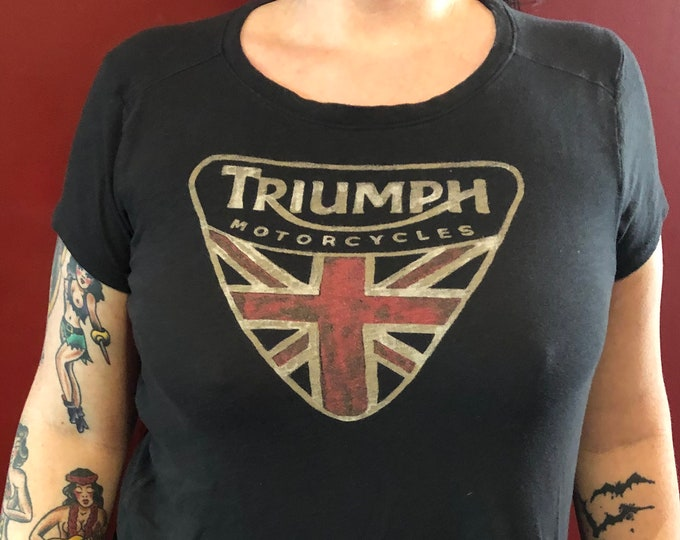 Triumph Motorcycles Shirt (Ladies - M) Bonneville Bikers Biker Evel Knievel Motorcycle Sons of Anarchy SOA Union Jack Thruxton Speed Triple