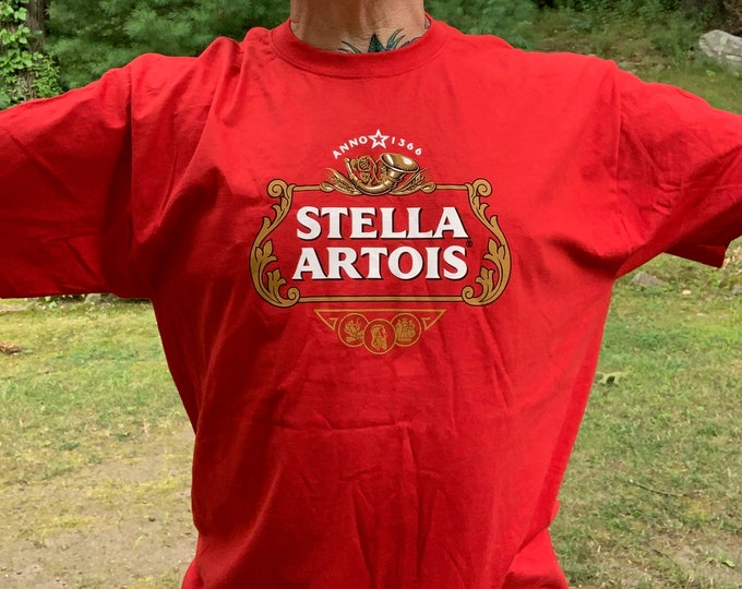 Stella Artois Beer Shirt XL Belgium Ale Brew Pub Guinness Brewery Brewhouse Ireland  Craft Beer Liquor Bartender Alcohol Booze Newcastle