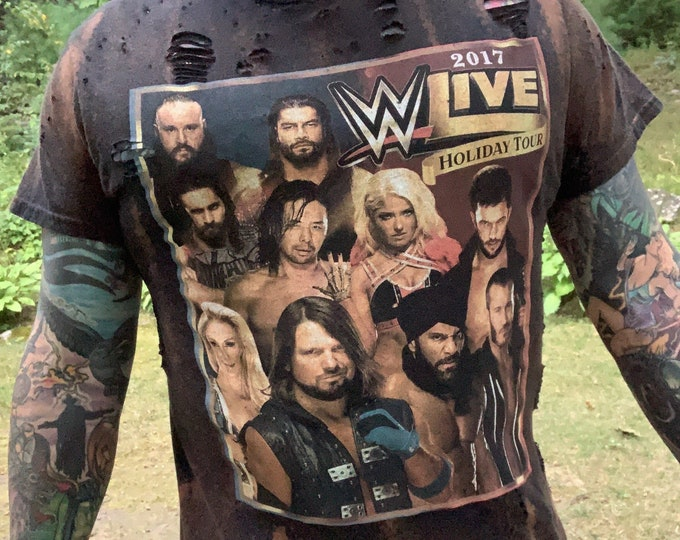 Distressed WWE Wrestling Shirt (M) Monday Night Raw Smackdown NXT Braun Strowman Brock Lesnar Randy Orton Sasha Banks AJ Styles The New Day