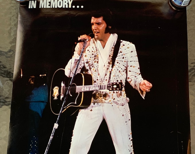 Vintage 1977 Elvis Presley Poster Graceland Memphis Viva Las Vegas Jailhouse Rock Heartbreak Hotel Tom Jones Oldies John Lennon Elton John