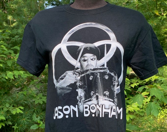Jason Bonham Band Shirt (S) Drummer Jimmy Page Robert Plant Drums Heavy Metal Houses of the Holy John Bohnam Deep Purple Whitesnake The Who