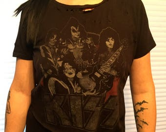 Distressed Modified KISS Band shirt Ace Frehley (Ladies XL) Peter Criss