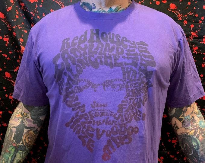 Jimi Hendrix (L) Voodoo Child Band Shirt Purple Haze Voodoo Chile Psychedelic Woodstock Purple Haze Band of Gypsys Electric Ladyland Guitar