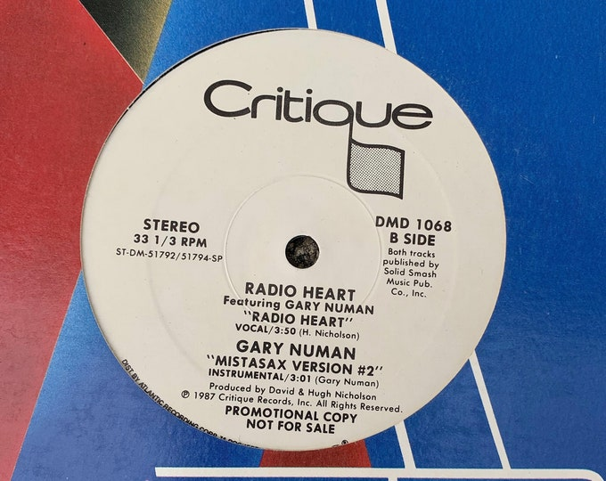 "Radio Heart Featuring Gary Numan 12"" Single Vinyl Record Tubeway Army Electronic Synth-Pop Promo New Wave Blondie Soft Cell Pet Shop Boys"