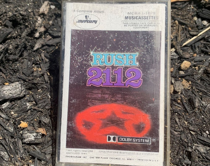 Vintage 1975 RUSH 2112 Cassette Tape Geddy Lee Alex Lifeson Neil Peart Trailer Park Boys ELO Aerosmith T Rex King Crimson Triumph Rik Emmett