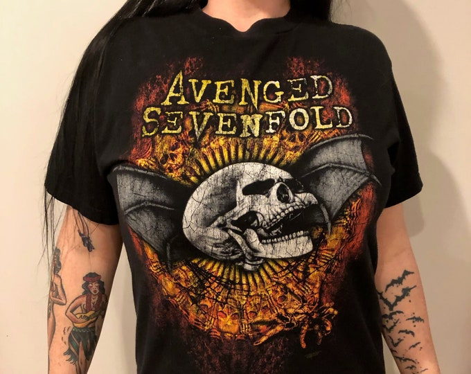 Avenged Sevenfold Band Shirt (MED) Matt Shadows Synyster Gates Zacky Vengeance Jimmy Sullivan The Rev ffdp Mike Portnoy A7X bfmv Skull Korn
