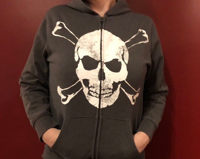 Skull and Crossbones Hoodie GothGirl Goth Gothic Metal Punk Horror Skulls Sexy (KIDS XL) HeavyMetal Punk Rock Skull Halloween Bones Pirate