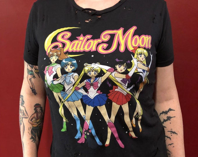 Distressed Sailor Moon (Ladies XS) Tshirt  Japanese Animation Anime Usagi Tsukino Dragon Ball Z Pokémon Digimon Adventure Magical DoReMi