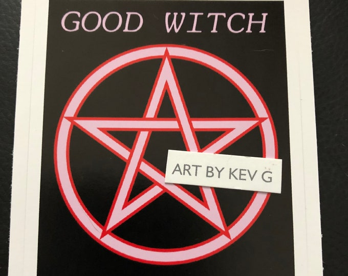 Witchy Woman by ArtByKevG Sticker Wiccan Witch Occult Witchcraft Goth Gothic Pentagram Tarot Ouija Witch Witchy  Stickers Good Witch Pink