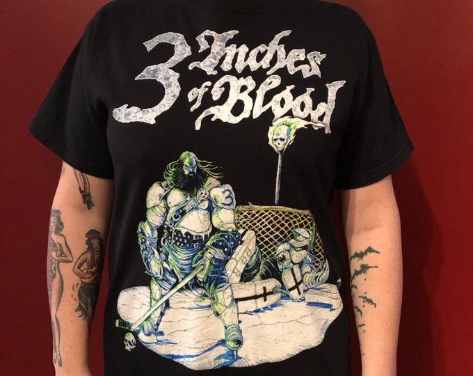 3 Inches of Blood Bandshirt (Sz M) Skeletonwitch  Goatwhore Toxic Holocaust Metal Metalhead Cattle Decapitation Dying Fetus Slayer Opeth