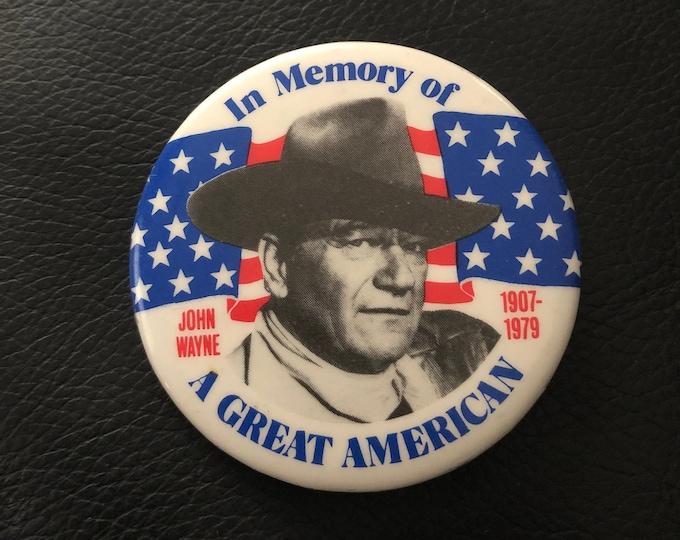 Vintage 1979 John Wayne Commerative Pinback Button Pin Badge 70s Nostalgia Retro Pins Pinbacks Western Cowboy Cowboys True Grit Robert Mitch