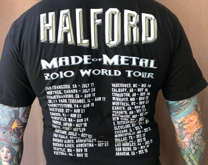 Rob Halford Metal God Records tour shirt Judas Priest Heavy metal band shirt  size (M) Halford Stained Class British Steel Iron Maiden metal