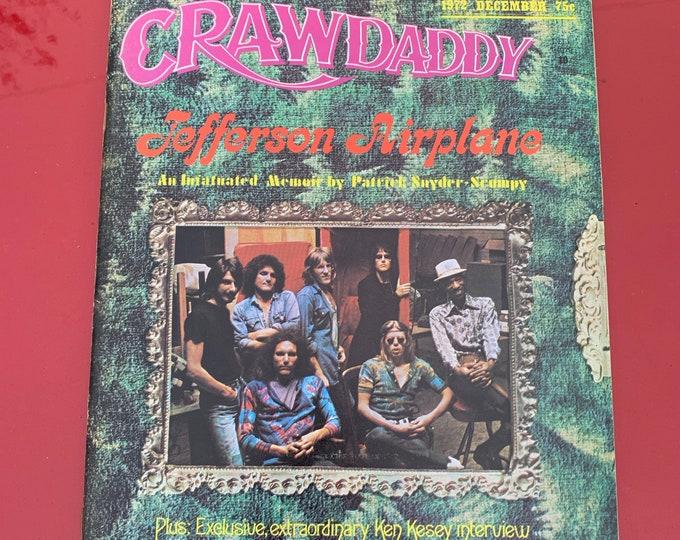 Vintage Dec. 1972 Crawdaddy Magazine Jefferson Airplane Paul Kanter Jorma Kaukonen Surrealistic Pillow Marty Balin Grace Slick J Geils Band