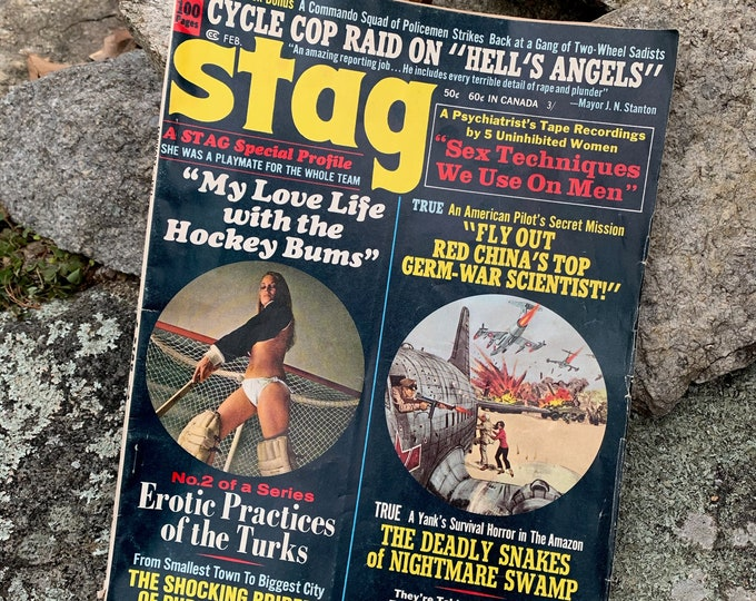 Vintage Feb 1971 Stag Men's Magazine Erotica Sexy Comics Playboy Erotic Hells Angels War Hockey Sex Boobs True Crime Risque Pulp Fiction