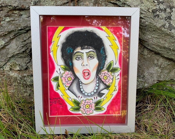 Tim Curry Tribute Rocky Horror Picture Show Watercolor Art Painting by ArtByKevG Framed Tattooflash Artworks Artwork Artist RHPS LBGTQ Arts