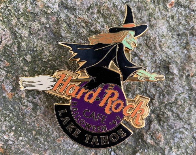 Vintage Hard Rock Cafe Lake Tahoe Halloween Enamel Pin Witch Goth Witchcraft Goth Pumpkin Planet Hollywood Jack O Lantern Bats Vampire Salem