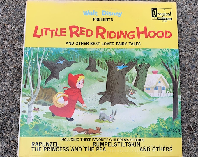 Vintage 1968  LP Record Walt Disney Little Red Riding Hood and Other Fairy Tales Vinyl Snow White Cinderella Alice In Wonderland Jungle Book