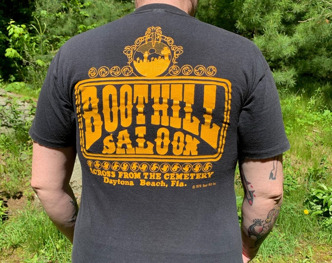 1979 Boot Hill Saloon Vintage T-Shirt Daytona Beach Florida (L) Bike Week Spring Break Cemetery Harley Davidson Biker Bar Beer Sturgis SOA