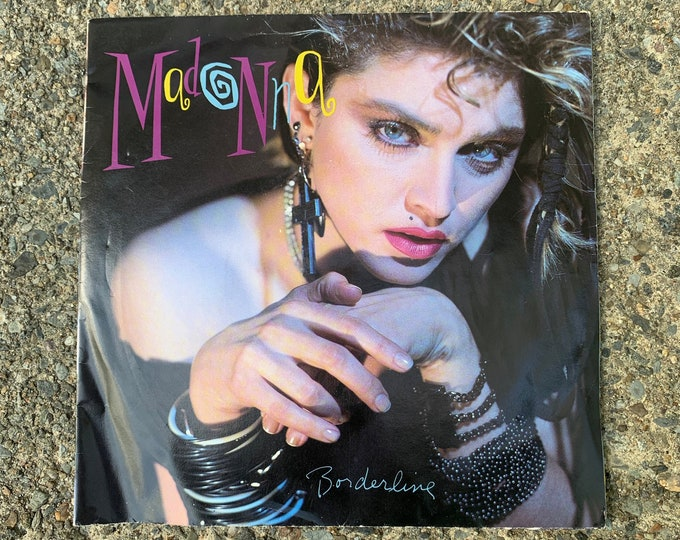 "Madonna 7"" 45 RPM Single Vinyl Borderline W/ Poster Picture Sleeve Lady Gaga Cher Cyndi Lauper Thompson Twins INXS Britney Spears Pretenders"