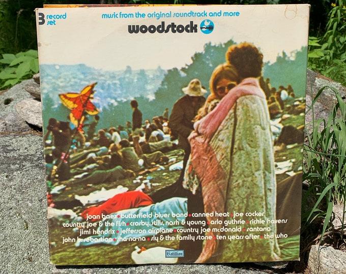 Woodstock Soundtrack Vintage Vinyl 3x LP 1st Press 1970 Cotillion SD 3-500 Gatefold Record LP Jimi Hendrix Butterfield Blues Band Santana