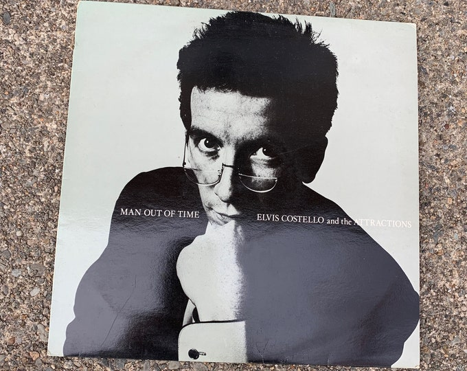 "Elvis Costello & The Attractions 12"" Single Vinyl Record Man Out Of Time Electronic Synth-Pop Promo New Wave Nick Lowe Joe Jackson Squeeze"