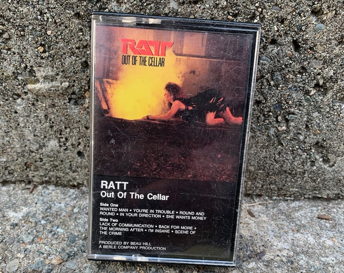 Vintage RATT Out of the Cellar Cassette Tape Motley Crue Tesla Lita Ford Quiet Riot White Lion Winger LA Guns Faster Pussycat Wasp Poison