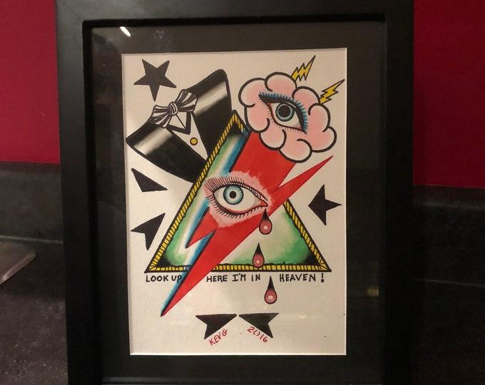 David Bowie Tribute watercolor art painting framed tattooflash Artworks Artwork Artist Ziggy Stardust Blackstar Klaus Nomi Diamond Dogs Glam