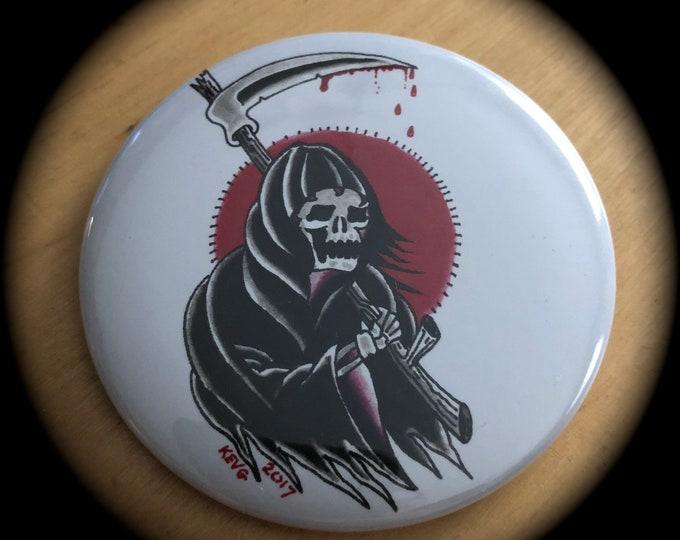 Grim Reaper by ArtByKevG  Pin Badge Tattoo Art  Skull Occult Salem Tattoo Flash Goth Halloween Tattoo Tattoos Inked Tattooed Skulls Skull