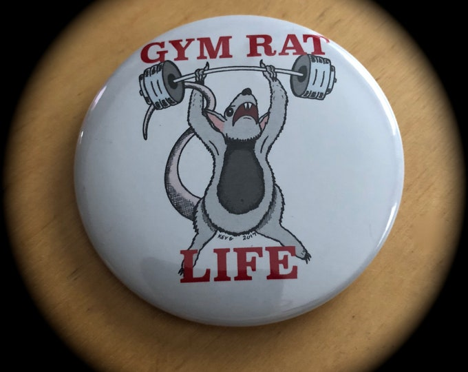 Gym Rat by ArtByKevG  Pin Badge Art Rats Fitness Fitfam Bodybuilding Workout Barbells Yoga cardio Crossfit Muscles Squats Fit Girl Bootcamp