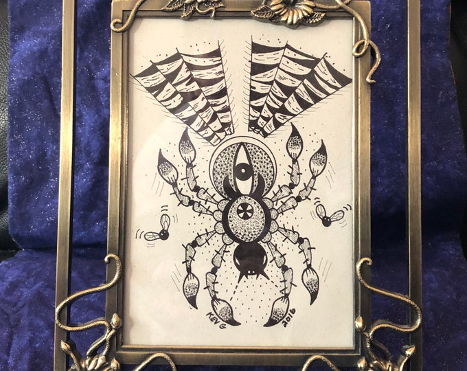 Spider Pen Art framed by Art By Kev G spiderweb Snake Snakes Reptile Tattoo Art Inked blood tattooing venom