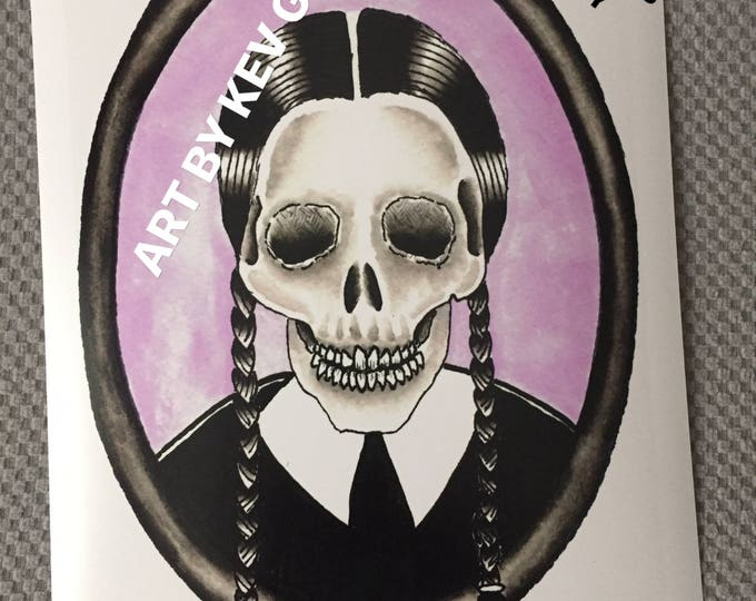 Wednesday Addams Art Print on Fuji photographic paper skull Art By Kev G gothic goth skeleton gothgirl spooky creepy horror halloween sexy