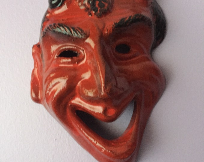 Satan Mask Wall Hanging - Ceramic Pottery Gothic Decor - Krampus Satanic Satan Devil Evil Witchcraft Black Magic Witch Witches