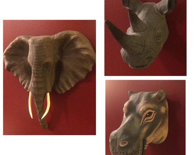 Handpainted Papier-Mâché Safari Animals - Elephant Rhino Hippo Conservation Nature Wildlife Art Sculpture arts artworks Africa Desert Plains