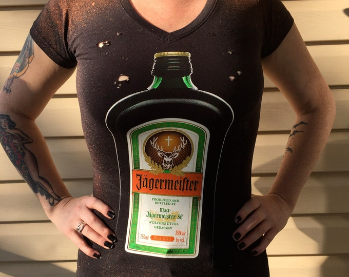 Altered and Distressed Jagermeister Jagerbomb  Party Top - Ladies Small tee shirt tshirt booze drinking games party party time shots fun