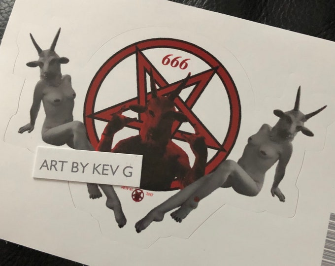Satanic Goat by ArtByKevG Sticker Baphomet Occult witchcraft gothic gothic Pentagram Tarot Ouija Witch Witchy Horror Devil Stickers Gothgirl