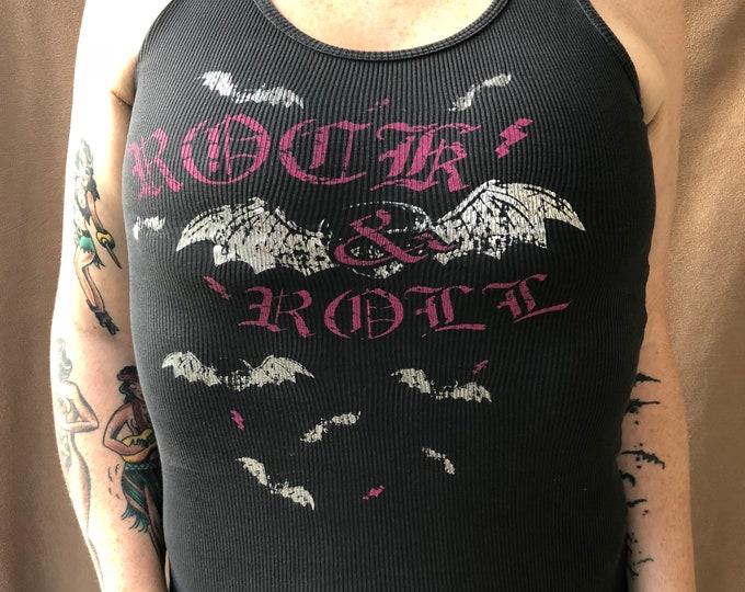 Rock N Roll Bats - Ladies Slim Fit Tank (S) tanktop Rocker Girl Bat Goth Gothic Deathbat Gothgirl Creepy Batty punkrock heavymetal metalhead