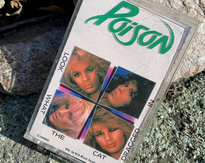 Vintage 1986 Poison Look What The Car Dragged In Cassette Tape Bret Michaels CC DeVille Rikki Rockett Whitesnake David Lee Roth Cheap Trick
