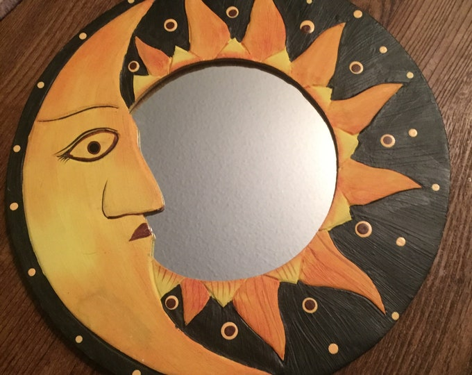 Celestial Mirror - Moon and Sun Frame - Wooden - Altar Space -  Moonface - Starry Night
