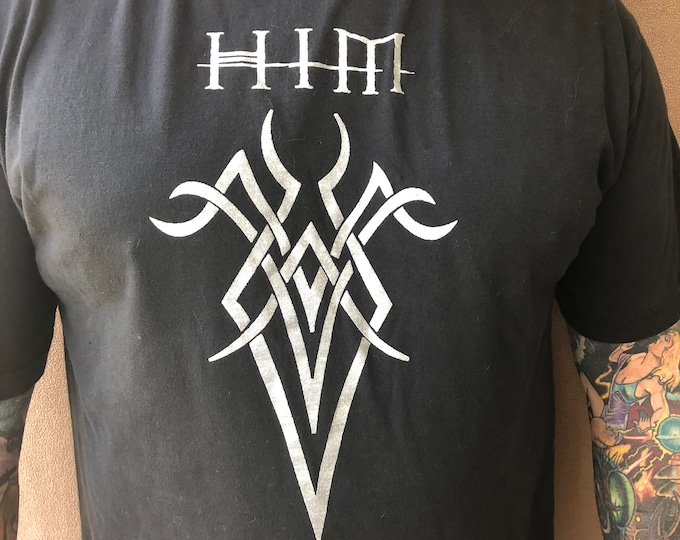 HIM Ville Valo  (Large)  Finnish Metal Heartagram Band Shirt Goth Rock Gothic Metalhead Kat Von D Tribal Tattoos Tattoo heavy Metal Finland
