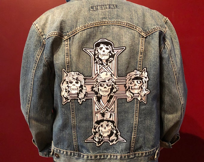 Patched Denim Jacket Guns N Roses Axl Rose Heavy Metal Battlevest Metal Aerosmith Anthrax Ozzy Osbourne Lamb of God Motorhead Metallica ACDC