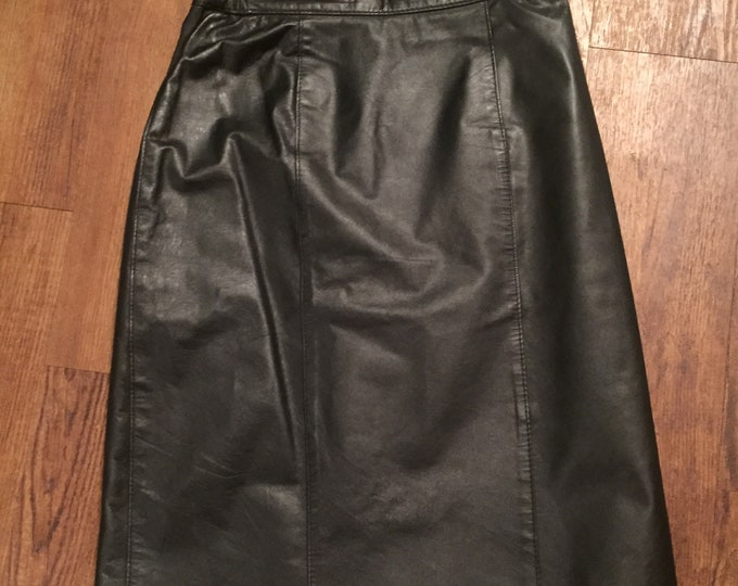 Genuine Leather 80s A-Line Skirt with Slit Heavy Metal Psychobilly Judas Priest Iron Maiden Sexy Metallica Megadeth The Damned Sex Pistols