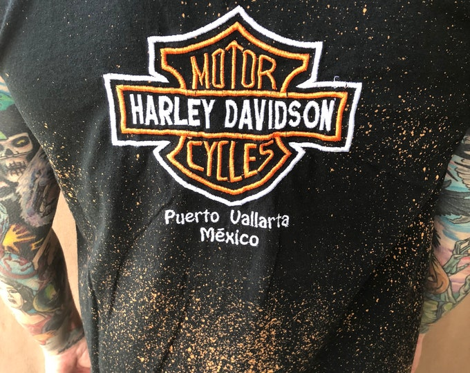 Harley Davidson Motorcycles Embroidered Distressed sleeveless shirt  Mexico Biker Bikers Outlaw Outlaws Motorcycle Bike Run Heritage Softail