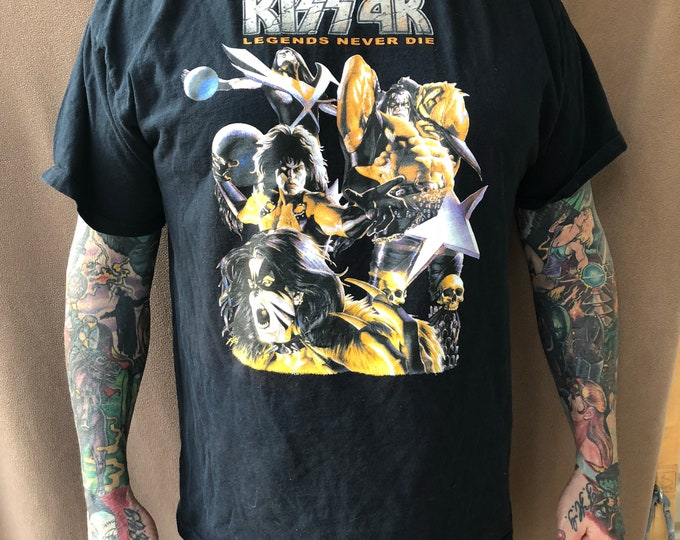 KISS Comic Book Design - KISS 4K Band shirt (XL) Gene Simmons Paul Stanley Ace Frehley Peter Criss Comics Cosplay Comic Books Kissband Alive