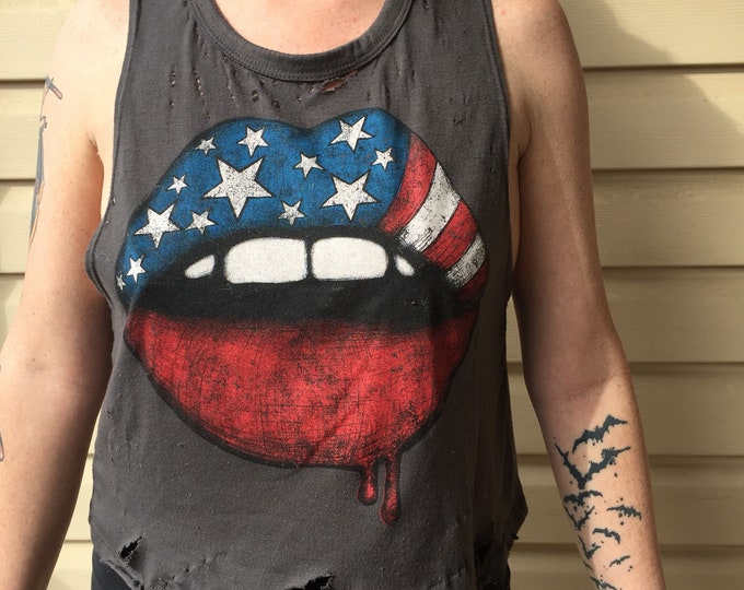 Distressed Modified American Lips - Biker girl sexy - (Ladies M) Crop Top American America UCA Murica Independence Day July Fourth Patriot