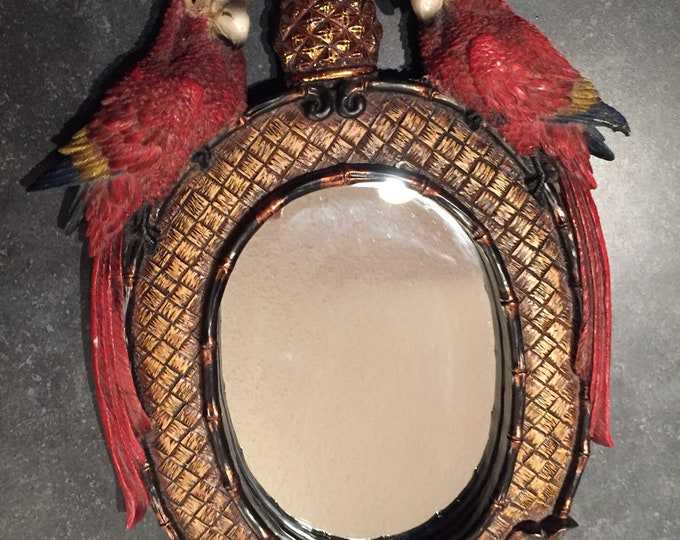 Vintage Exotic Parrot Mirror - Vintage Souvenir - Macaw - Looking Glass - Wall Hanging