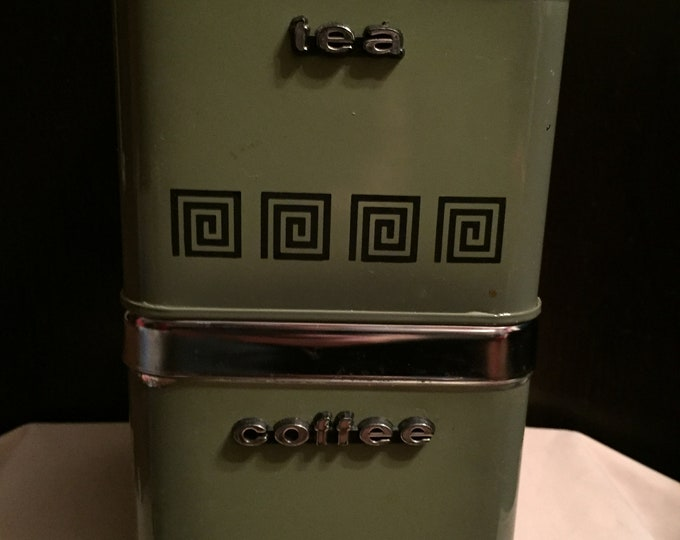 Vintage Metal Stainless Steel Olive Green Coffee and Tea Canister Set - Dry Storage - Vintage Kitchen - Food Prep - 70s Retro Made in Canada